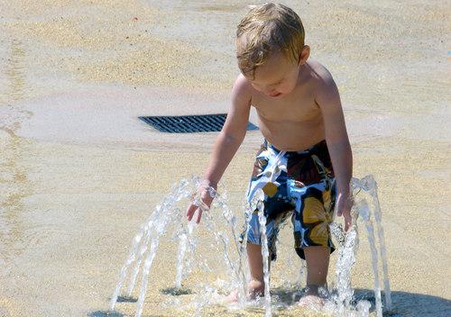 Mac at the water spray park