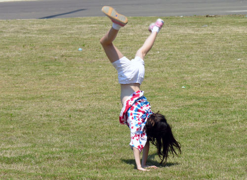 Doing a cartwheel on Field Day